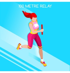Running Relay 2016 Summer Games Isometric 3D vector image vector image