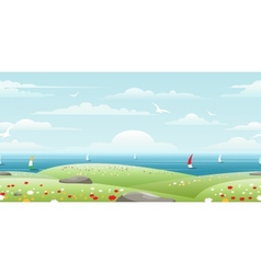 Sea landscape with sails vector image vector image