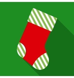 Striped Christmas Sock in Flat Style vector image