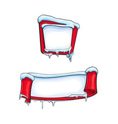two horizontal cartoon christmas winter banners vector image