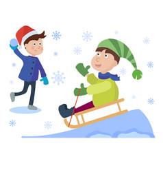 christmas sledding kids playing winter games vector image vector image