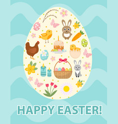 happy easter greeting card flyer poster with a vector image vector image