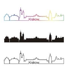 Krakow skyline linear style with rainbow vector image