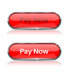 Pay now button shiny red oval web icons normal vector