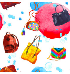 watercolor seamless pattern with bags vector image