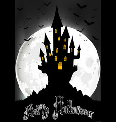 halloween background with scary house on the full vector image vector image