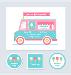 icecream truck kids party invitation and vector image