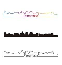 Parramatta skyline linear style with rainbow vector image vector image