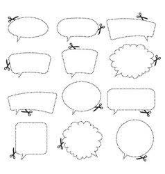 Scissors and speech bubbles vector