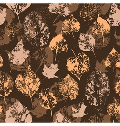 Seamless texture with stamped autumn leaves vector image vector image