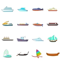 Ship and boat icons set cartoon style vector image vector image