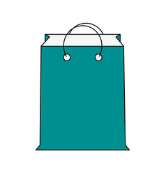 color silhouette cartoon blue bag for shopping vector image vector image
