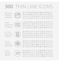 icons line set hexagon thin vector image