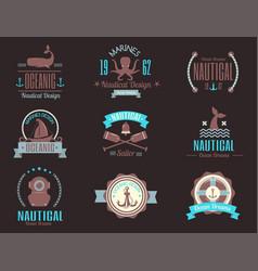 sea marine nautical logo icons sailing vector image