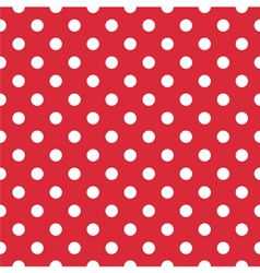 Seamless white polka dots on red background vector image vector image