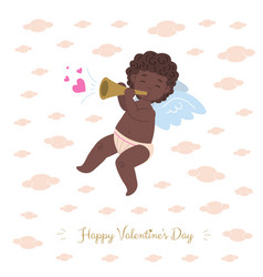 african cupid playing music of love vector image