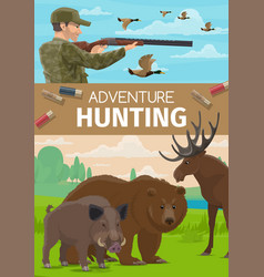 Animals hunting open season hunter club adventure vector