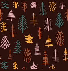 autumn trees seamless pattern repeat tile vector image