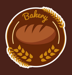 Bakery wheat circle brown background vector