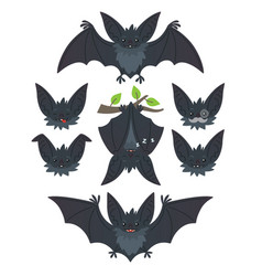 bat in various poses flying hanging grey bat vector image