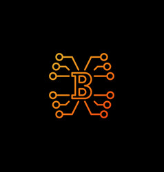 Block chain technology concept orange vector