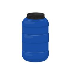blue storage barrel with black lid plastic vector image