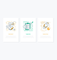 Business processes - line design style banners set vector