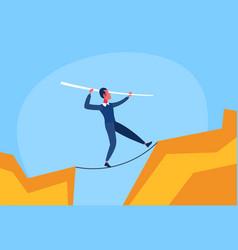 Businessman walk over cliff gap abyss mountain vector