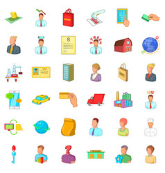 Career in company icons set cartoon style vector