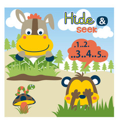 Cartoon cute animals play hide and seek vector