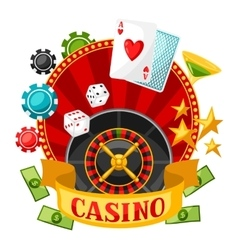 Casino gambling background or flyer with game vector image