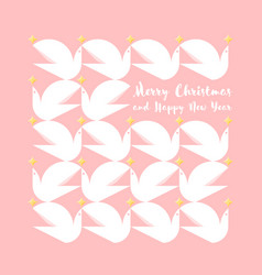 christmas card with greetings and pattern of doves vector image