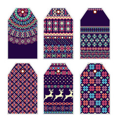 collection price tags with sweater ornament vector image