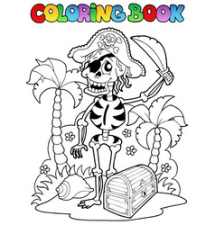 Coloring book with pirate theme 1 vector