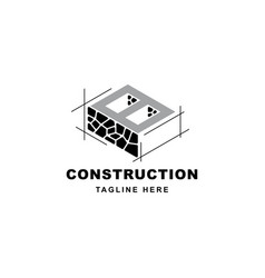 Construction logo with letter b shape symbol vector