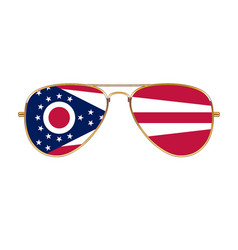 Cool aviator sunglasses with ohio state flag vector