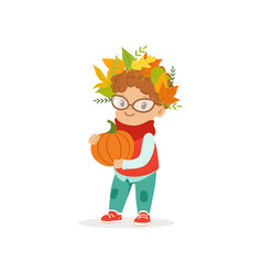 Cute little boy in warm clothing and wreath of vector