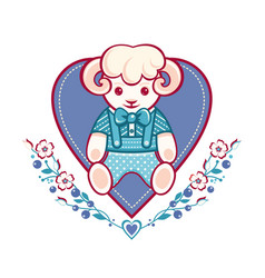 Cute sheep greeting card vector
