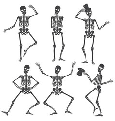 Dancing skeletons different skeleton poses vector