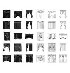 Different kinds curtains blackoutline icons in vector