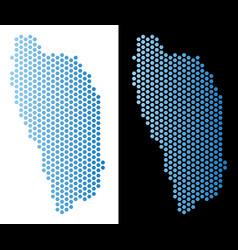Dominica island map hex-tile scheme vector