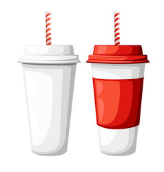 Drink in a red and white paper cup with straw vector
