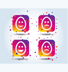 eggs happy and sad faces signs easter icons vector image