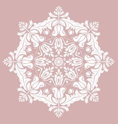 Elegant round white ornament in classic vector