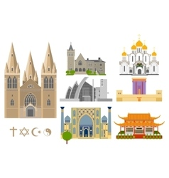 Famous Cathedrals flat icons vector
