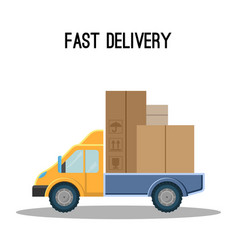 fast delivery poster with truck full of cardboard vector image