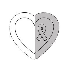 Figure heart with breast cancer ribbon icon vector