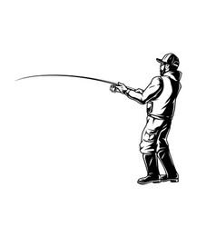 Fisherman holding fishing rod vector