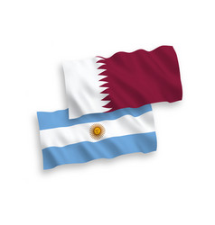 Flags qatar and argentina on a white background vector