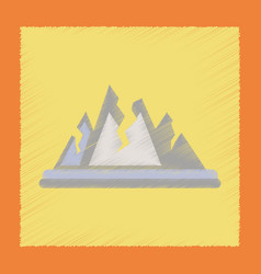 Flat shading style icon cracks mountains vector